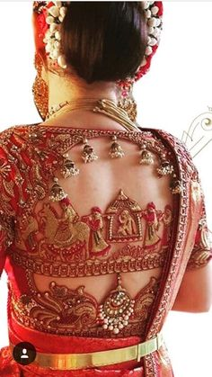 Wow, this is really gorgeous Wedding Saree Blouse Designs, Blouse Neck Designs, Designer Blouse Patterns, Blouse Models, Bridal Outfits, Acupressure Points, Hairstyles, Maggam Works, Indian Clothes