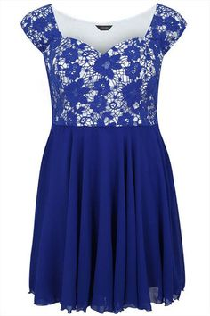 Cobalt Blue Floral Crochet Skater Dress With Sweetheart Neckline
