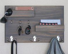 Coat Rack Organizer and Key Rack with Floating Ledge Mail Phone and Sunglasses Storage