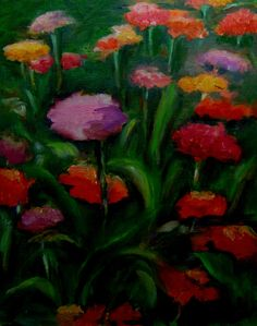 Excited to share the latest addition to my #etsy shop: Wild Zinnias Original Oil Painting 11 X 14 print