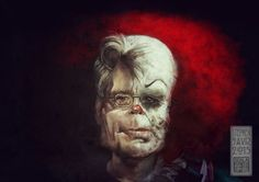 Stephen King / Pennywise, by Eric Scala (french artist) >>>… Scary Movie Characters, Scary Movies, Horror Movies, Steven King Quotes, Stephen King Books, Stephen Kings, Scary Funny, The Dark Tower, Creepy Clown