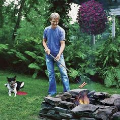 Replace the old chiminea in my backyard with a stone-ringed fire pit.