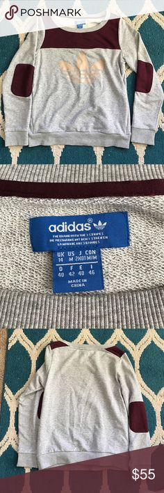 Cute capped elbow Adidas sweater This is very comfortable and cute. Fits like a true medium. Only worn maybe a handful of times. Always willing to take reasonable offers! Adidas Sweaters Crew & Scoop Necks