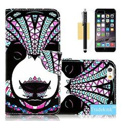 "iPhone 6 Plus Case, iPhone 6 5.5"" Case, Tradekmk(TM) Brand New Colored Drawing Design PU Leather Card Holders Stand Wallet Phone Case Cover[Bear Pattern] For Apple iPhone 6 Plus(5.5"")[+Stylus+Screen Protector+Cleaning Cloth]"