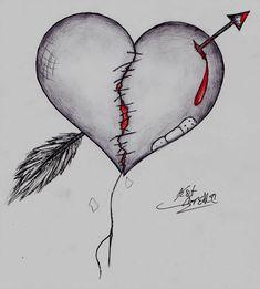 Mended by xxKatherineRose on DeviantArt Sad Drawings, Dark Art Drawings, Art Drawings Sketches Simple, Pencil Art Drawings, Broken Heart Drawings, Broken Heart Art, Broken Heart Tattoo, Simpsons Drawings, Art Sketchbook