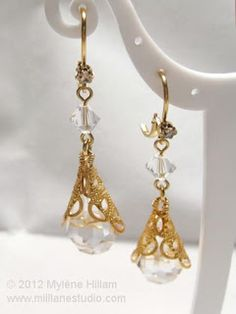 Dress up your evening wear with these classy and elegant crystal and filigree earrings. You can make them in around 20 minutes.