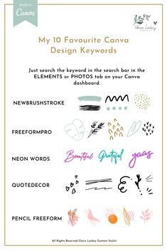 Sometimes it's hard to know what you are looking for in Canva.  Here are ten of my favourite keywords to use when searching in the elements and photos tab on canva.   #creativedesign #graphicdesign #visualgraphic #canva #canvatips #canvadesign  #socialmediagraphics #branding101 #savvybusinessowner #contentstylist #digitalmarketingstrategy  Graphic Design Tools, Tool Design, Inspiration Typographie, Feeds Instagram, Typography, Lettering, Instagram Design, Social Media Design, Social Media Graphics