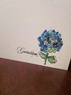 Simple Blue Hydrangea Watercolor Card. $3.50, via Etsy.