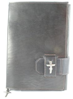 Latigo Black Leather Bible Cover with Slide Closure and Pewter Cross - Amazing Leather Products