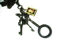 Sherlock Magnifying Glass Steampunk Keys Locket by AlteredEras