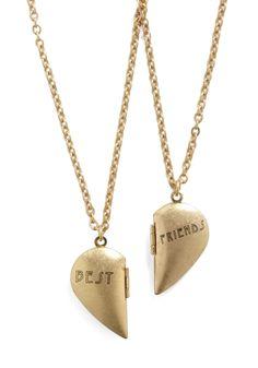 Partners in Shine Necklace Set MaiLyy Bff Necklaces, Best Friend Necklaces, Friendship Necklaces, Vintage Necklaces, Bff Gifts, Best Friend Gifts, Simple Necklace, Necklace Set, Modcloth Wedding