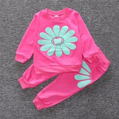 ST185 2016 spring autumn children girl clothing set baby girls sports sunflower costume kids clothing set suit - Ali Style Ali Style