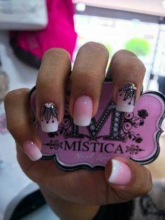 Pin by darlyn caballero on uñas nail designs, square nail designs, bling na Fancy Nails, Bling Nails, Love Nails, Pretty Nails, My Nails, Square Nail Designs, Cute Nail Designs, Basic Nails, Nails 2018