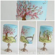 Sakura, Cherry Blossoms, airbrush and paint  Cake by PreciousPeggy