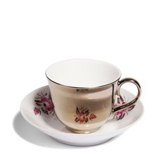 Mis-matched Antique Saucers Brilliantly Paired with High Gloss Tea Cups by Richard Brendon