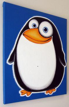 Pingouin fAT  16 x 20 peinture acrylique sur toile pour