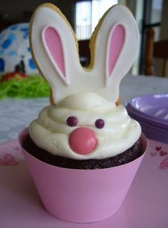 Rabbit cupcake with cookie ears