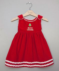 Princess Linens Red My First Christmas Corduroy Dress - Infant | zulily