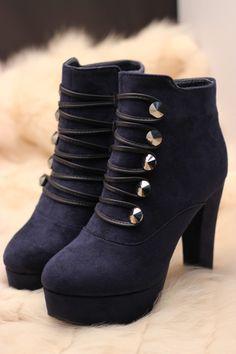 2012新款 女鞋 秋冬欧美高跟鞋 粗跟防水台短靴女靴子