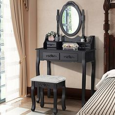 Mecor Vanity Table,Makeup Dressing Table with Oval Mirror,Bedroom Vanity Set w/Cushioned Stool 4 Drawers Women Girls Kids Black Dressing Table Rotating, Black Dressing Tables, Dressing Table Vanity, Dressing Table With Stool, Vanity Table Set, Vanity Set With Mirror, Desk Set, Oval Mirror, Black Vanity