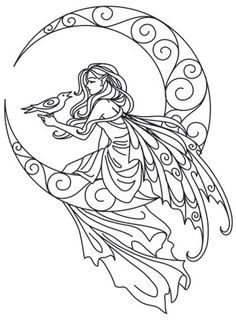 Craft darkly beautiful creations with this ethereal faerie design. Downloads as a PDF. Use pattern transfer paper to trace design for hand-stitching.