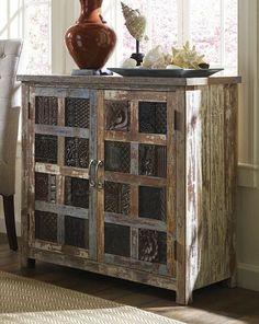 Wood Print Block Patterns  Reclaimed Wood Vintage Print Block Grid Cut 2 Door Buffet