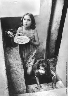 Refugee children in a filthy cellar at Piraeus during the Greek Civil War. (Photo by Haywood Magee/Picture Post/Getty Images). Antique Photos, Old Photos, Greek Girl, Greek History, Civil War Photos, Black And White Pictures, Black White, White Art, Cold War