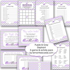 Lavender Elephant Baby Shower 8 Game Pack / by lemontreecards
