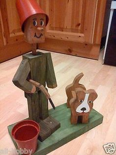 "Wooden garden flower pot man ""HUNTER WITH DOG"" planter £19.99"