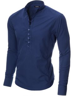 MODERNO Mens Mao Collar Casual Shirt (MOD1431LS) Blue. FREE worldwide shipping! 30 days return policy