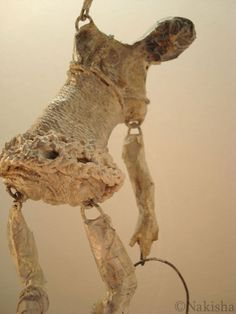 "Hoop Dancer- Sculpture by Nakisha, Mixed media (wire, glue, twine, paper, tape, paint, glazes), apx 5"" x 4"" x 8""H, 2008."