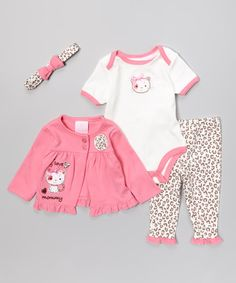 Take a look at the Petite Bears Pink & White 'Love Mommy' Bodysuit Set - Infant on #zulily today!