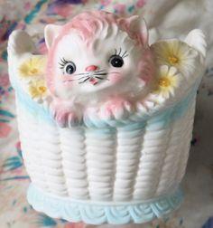 Vintage Planter-Kitten in Basket