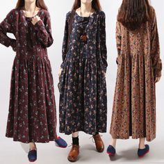 Hot-sale Vintage Floral Printed O-Neck Long Sleeve A-Line Dress For Women - NewChic Mobile