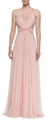 $2,365, Pink Chiffon Evening Dress: Pamella Roland Draped Silk Chiffon Halter Gown. Sold by Neiman Marcus.