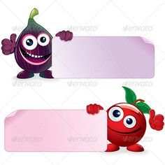 Cherry and Fig with Banner  #GraphicRiver         Sweet Cherry and Ripe Fig. Funny Fruits with Blank Sign. Vector Cartoon Illustration  	 - vector illustration with simple gradients  	 - vector graphics with CMYK colors for print  	 - zip file contains images: AI, CDR, EPS, JPG  	 Keywords: bright, color, cute, eating, face, green, leaf, healthy, thumb, up, lifestyle, message, paper, placard, label, hand, holding, common, desert, wild    	   FOOD and DRINKS VECTOR CLIP ART…