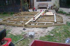 ground level deck. Cinder blocks instead of digging holes.