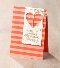 You make my heart happy! Striped negative heart card