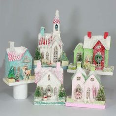 Cody Foster Christmas Retro House Collection - Set of 5