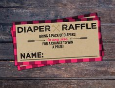 Diaper Raffle Lumberjack Baby Shower // Buffalo by LyonsPrints