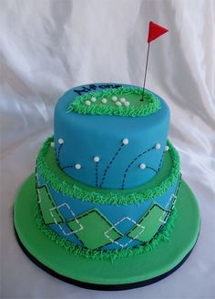 Golf cake - Blue and green golf cake, all MMF with wire flag on top. I found inspiration for this one from all the golf cakes on this site.