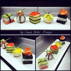 Variety of sushi by chef Janek Sobr Cube Recipe, Sushi Art, Christmas Drinks, Sashimi, Japanese Food, Finger Foods, Sushi Ideas, Appetizers, Healthy Eating