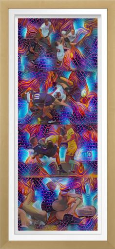"""""""Rugby Dreaming"""" - Art On Canvas Print. Original art by Roger Smith. Reproduced on gloss premium canvas. Made from an additive-free cotton-poly blend. Fade-resistant for 75 years. On for the keen rugby follower's wall at home or in the office. https://www.zazzle.com/rugby_dreaming_art_on_canvas_print-228503438920825304 #rugby #art #RogerSmith #print #rugbyunion"""