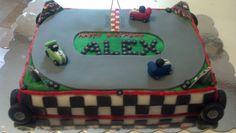 Race track cake I made. Like us on Facebook @ Da VaCh Cake Designs