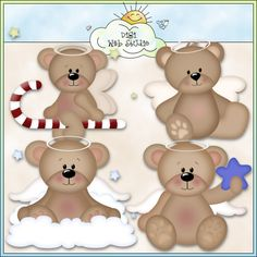 Angel Kisses Bears 1 - NE Kristi W. Designs Clip Art : Digi Web Studio, Clip Art, Printable Crafts & Digital Scrapbooking!