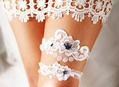 Wedding Garter Set Bridal Garter Set  White Lace by NAFEstudio