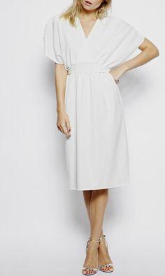 Simple Casual V-neck Knee-length Wedding Dress for Older Brides Over 40, 50, 60, 70. Elegant Second Wedding Dress Ideas.