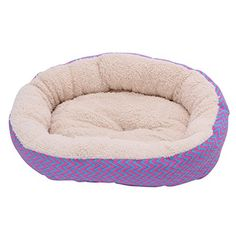Delight eShop Soft Round Pet House Bed Warm Dog Cat Puppy Kennel Cushion Striped Pad 2 Color (Red and Blue)