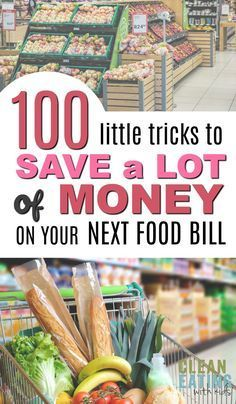 100 Sneaky Little Ways to Save a LOT of Money on your Next Food Bill Awesome list of grocery shopping hacks and ideas to do food shopping on a budget. Loved that it wasn't only about cutting coupons and had advice for healthy food for the entire family. Money Saving Meals, Save Money On Groceries, Ways To Save Money, Money Tips, Save Money On Food, Groceries Budget, Money Hacks, Frugal Living Tips, Frugal Tips