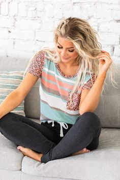 We love a good colorful top and our new Langley Striped Animal Print Top does not disappoint! With the leopard print on the top, contrasting colorful stripe design, scoop neck, and semi-loose fit, what's not to love? Our top is so soft and comfortable you'll find an excuse to wear it every day! Rock it with your favorite skinny jeans for a comfy yet stylish look! Cute Casual Outfits, Stripes Design, Jean Outfits, Loose Fit, Plus Size Outfits, Love Fashion, Scoop Neck, Skinny Jeans, Comfy
